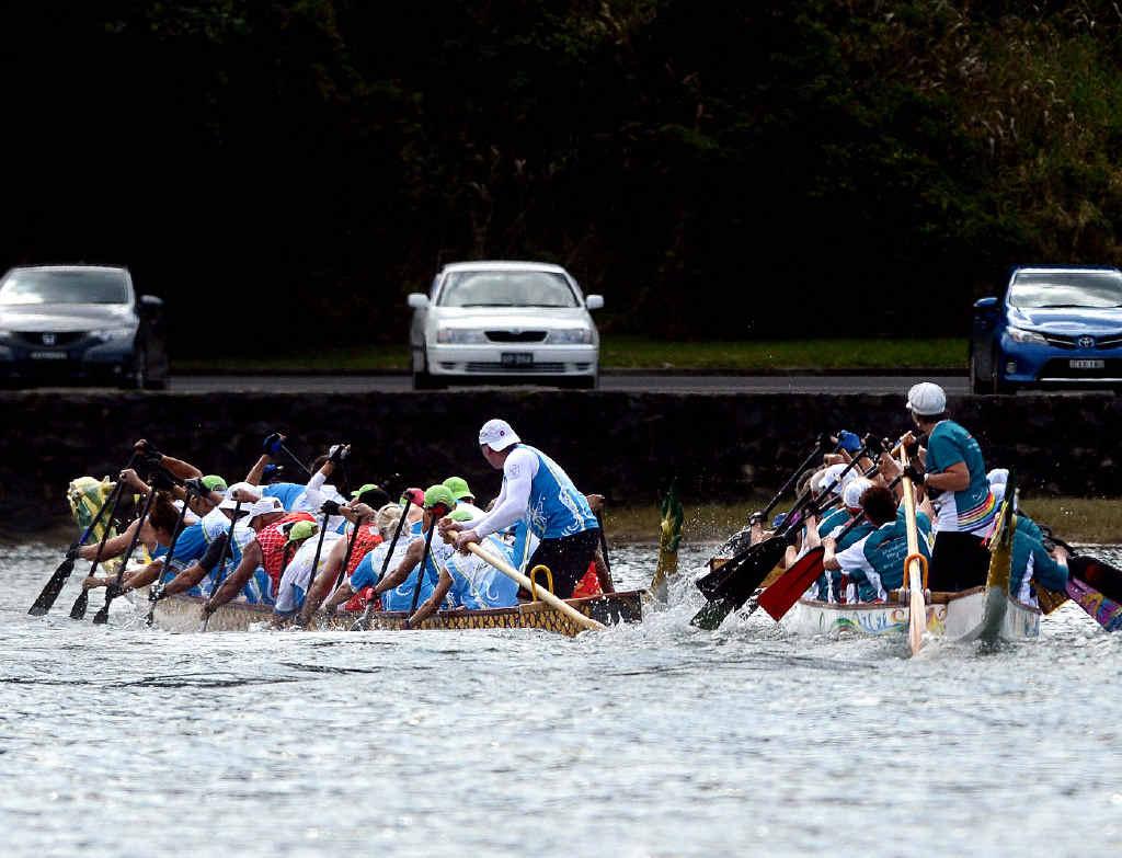 Dragon boat crews make a splash at Shaws Bay.