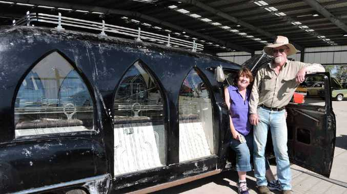 It was the gothic windows that first drew Deidre Turner and Matt Taylor to this 1954 hearse.
