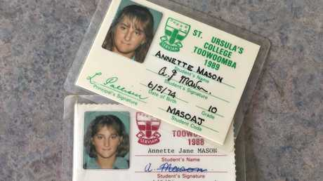 Murdered Toowoomba teen Annette Jane Mason's school identification cards.