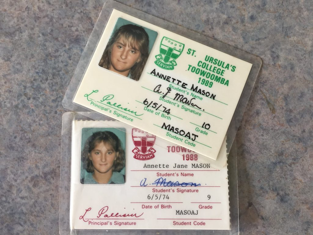 Murdered Toowoomba teen Annette Jane Mason's school identification cards.