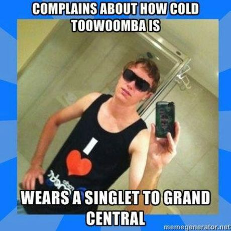 Brrr it's cold. Bro you're wearing a singlet.