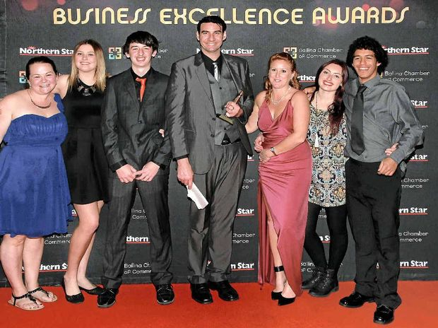 PEOPLE'S CHOICE: Trent Morgan and his team from Evolution Cafe at the Ballina Chamber of Commerce's Northern Star Ballina Coast and Hinterland Business Excellence Awards held last Saturday night.