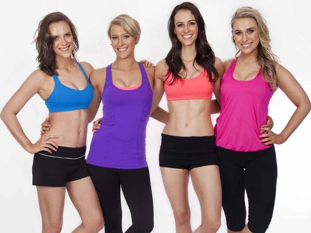 SISTER ACT: Annie, Katherine, Rachel and Fiona Johnson, from Ipswich, have created new fitness sensation TAPfit. INSET: The Johnson sisters have been close friends since they were young.