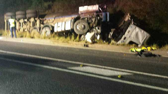 MIRACLE ESCAPE: The scene of the fatal truck crash on the Cunningham Hwy at Mutdapilly on August 11.