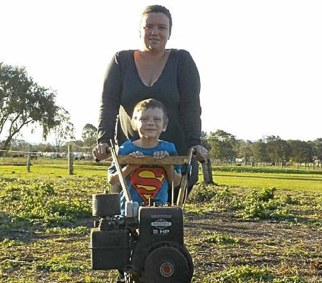 PUMPKIN CHAMPION: Ethan Ryan with mum Louisa is preparing for next year's Kyogle Pumpkin comp.