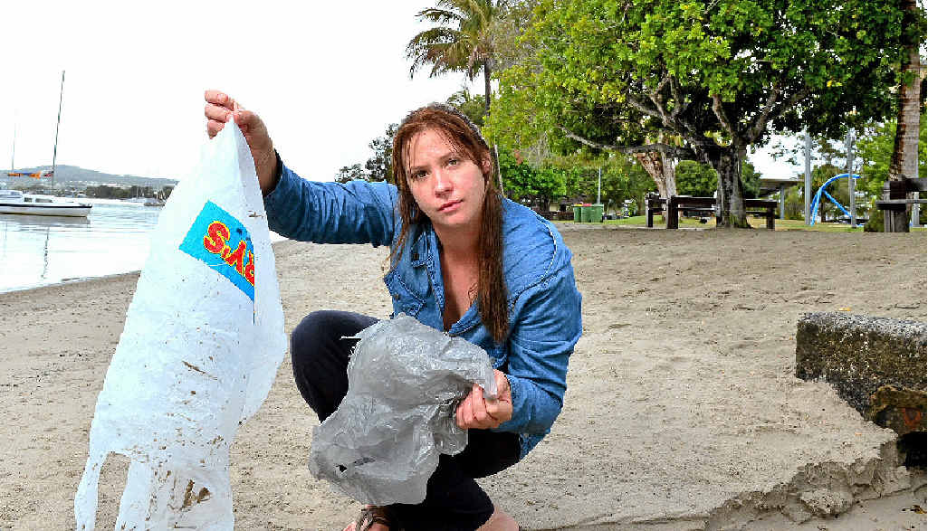 CLEANING UP OUR ACT: Dallas Dyer, on Noosa River, is concerned about plastic bags having a negative impact on the environment.