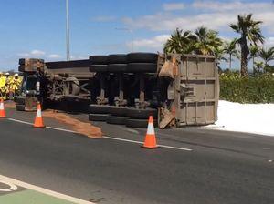 Highway shut, driver transported to hospital after crash