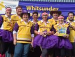 "Whitsunday Relay for Life committee members show their colours on Saturday at the Whitsunday Sportspark. Pictured are Marlene Peacock, Ryan Casey, Leonie Arthur, Wendy Barker, Sue-Ellen Gatton, Andrew ""Sid"" Barker, Renae Forse and Jesse Bagics. Photo Keagan Ryan / Whitsunday Times"