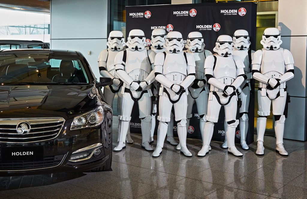 FORCE IS STRONG: Lord Vader masquerading as a Holden Calais gets full Storm Trooper protection