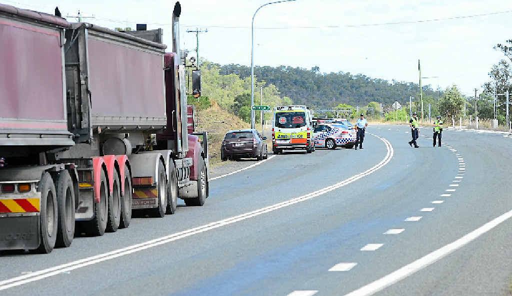 DANGEROUS LEAK: Emergency crews shut the Capricorn Hwy after a B-double started leaking a chemical on Tuesday.