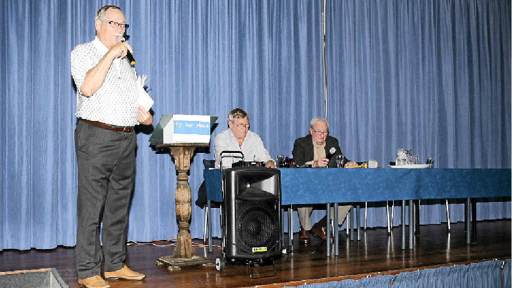 ABANDONED: Toorbul Progress Association secretary Brian Wallace speaks at the packed Toorbul Hall.