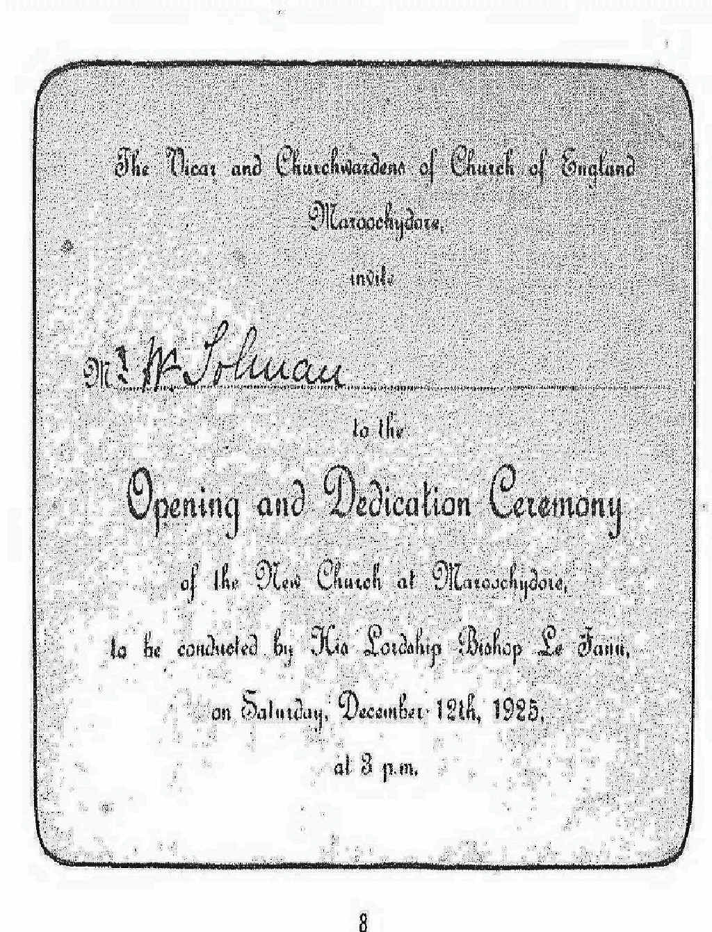 An inviation to the opening and dedication ceremony of the new church in 1925.