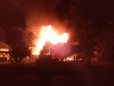 A massive blaze engulfed a house in North Ipswich this morning