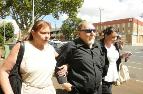Desmond Roy Hilton, 63, one of three persons of interest called to give evidence, leaves Toowoomba court on the fourth day of the inquest into the unsolved murders of nurses Lorraine Wilson, 20, and Wendy Evans, 18.