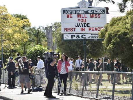 The Lockyer Valley District High School, at Gatton where Jayde's friends and fellow studetns have set up a memorial.