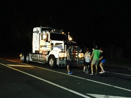 Bar Health and Fitness members pull a truck in Toowoomba.