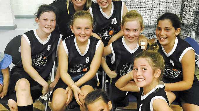 SUPERSTARS: The Yamba Trawlers Under-12 Girls (from back left): coach Natalie Smith, Georgia Salvestro; (middle) Grace McGill, Iris Short, Fallon Smith, Yasmin Elabassi; (front) Tyeeka Ferguson, Stella Van Leest. PHOTO: CONTRIBUTED