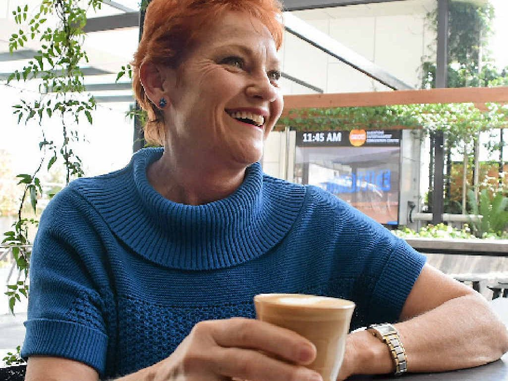 HELP US: One Nation leader Pauline Hanson stopped in Gladstone after being invited by business owners struggling with the economic downturn.