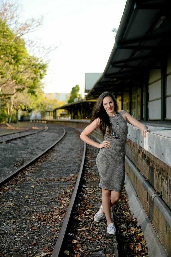 The Voice star Nina Baumer at the Murwillumbah railway station.  Photo: Nolan Verheij-Full / Tweed Daily News