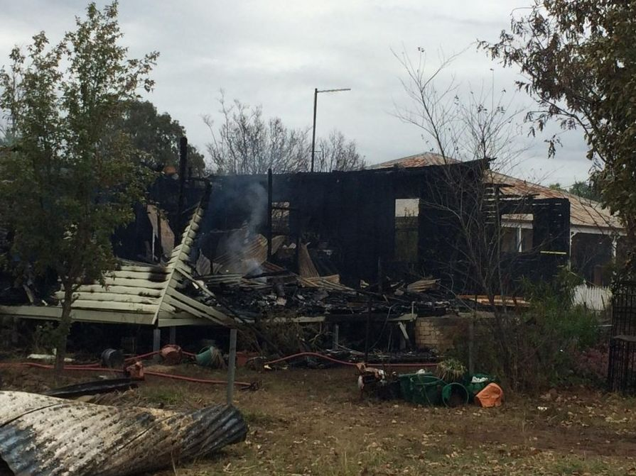 A family home at Miles has been destroyed in an early morning fire. Two people are feared dead. Photo: Alana Calvert Photo Alana Calvert / Chinchilla News