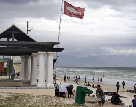 SOUTH AFRICA: A shark spotter raises the high shark alert flag on Muizenburg beach, near Cape Town.