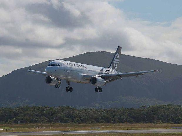 KIWIS ARRIVE: An Air New Zealand flight lands at Sunshine Coast Airport