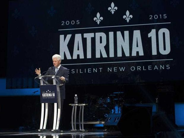 Former President Bill Clinton speaks at an event marking the 10-year anniversary of Hurricane Katrina, Saturday, Aug. 29, 2015, in New Orleans. The event also featured remarks by House Minority Leader Rep. Nancy Pelosi, D-Calif.