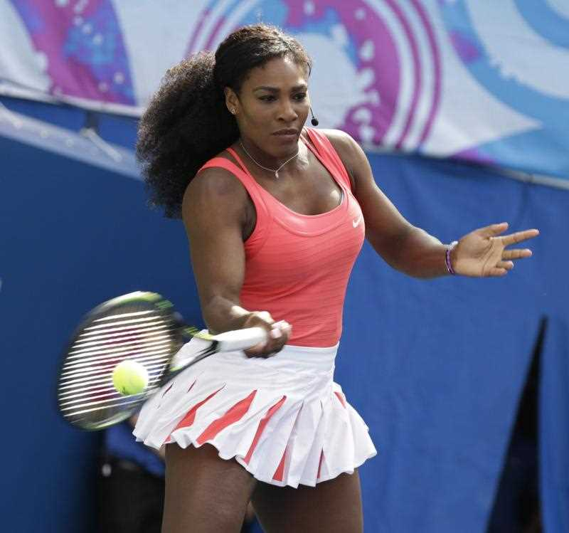 Tennis Player Serena Williams, of the United States, hits forehands for charity on Kids Day at the USTA Billie Jean King National Tennis Center in Flushing Meadows, in New York, New York ,USA, 29 August 2015.