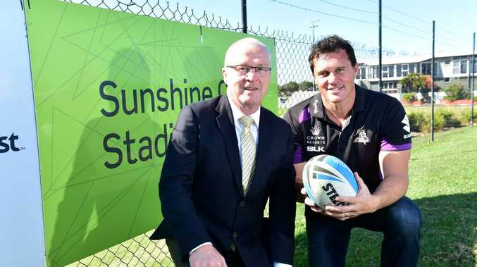 Sunshine Coast stadium will host the Melbourne Storm for a training camp prior to their clash with the Broncos. Mayor, Mark Jamieson, hopes to bring more big teams to the area to use the facilities on offer. (from left) Mayor Mark Jamieson and Matt Adamson of Melbourne Storm. Photo: Che Chapman / Sunshine Coast Daily