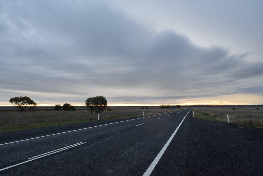 Warrego Highway at dusk. Photo Derek Barry / Surat Basin News