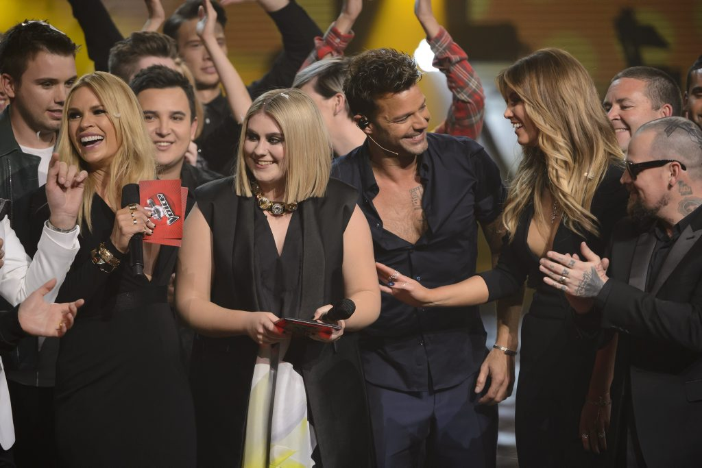 The Voice Australia's Ellie Drennan, second from left, pictured after the winner's announcement.