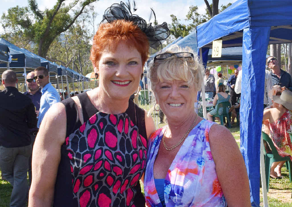 PHOTO OP: One Nation Party leader Pauline Hanson and Yeppoon's Jenny Harwood at the Yeppoon races.