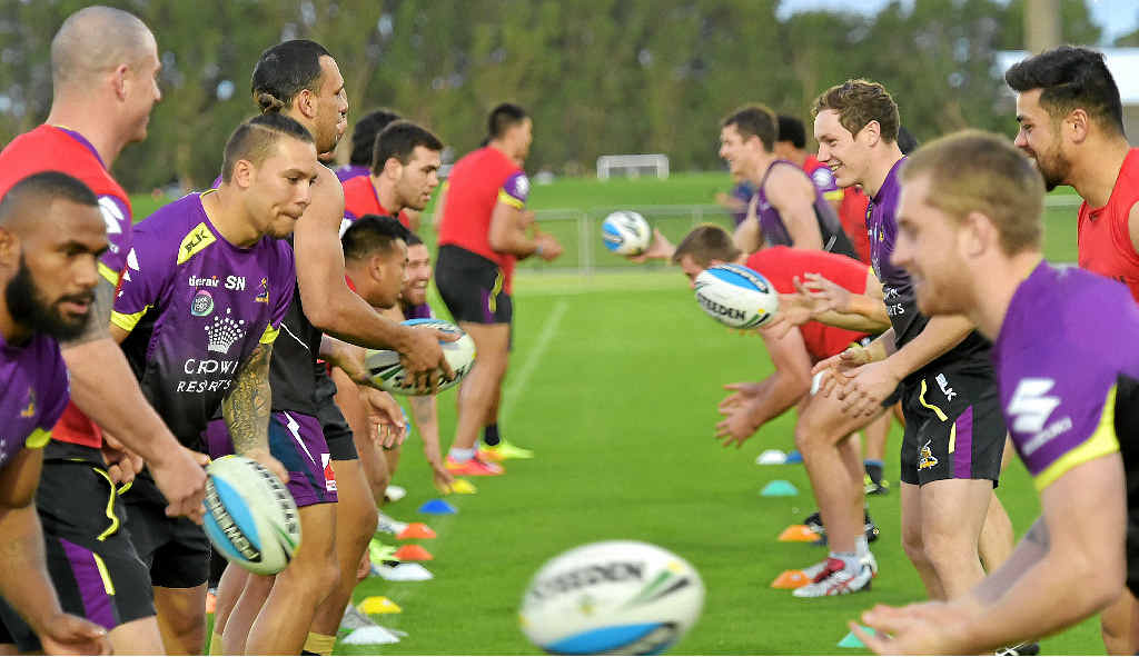 STARS COME OUT: Hundreds of fans turned out to watch the Melbourne Storm at an open training session at Sunshine Coast Stadium last night.