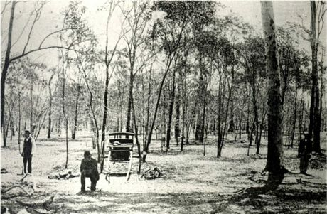 Gatton murder scene with police trackers at work, alongside Constable Murphy of Brisbane in the wattle scrub covered paddock belonging to Frank Moran. The Sulky belonging to the Murphy's siblings (middle of the image) was part of the Police Museum collection but sadly it disappeared sometime after 1938.