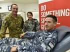 DEFENCE CHALLENGE: During September members of the Australian Defence Force are donating blood to raise awareness of the Blood Bank. From left; Mark Lowndes - Army, Deanna Pringle - Navy and David Murray -Airforce Photo Bev Lacey / The Chronicle