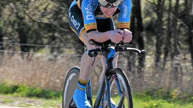 PAIN BARRIER: Grafton's Craig Evers grits his teeth on his way to winning the 2015 NSW Elite Mens Individual Time Trial for Data #3 Symantec Racing Team at Breadalbane near Goulburn on Saturday. PHOTO: CONTRIBUTED