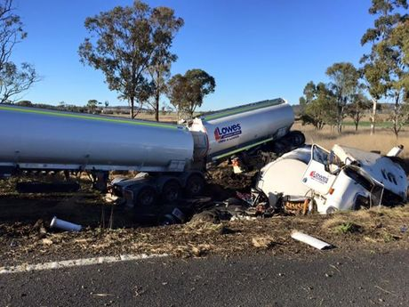 The scene of the truck crash south of Toowoomba. Photo Facebook