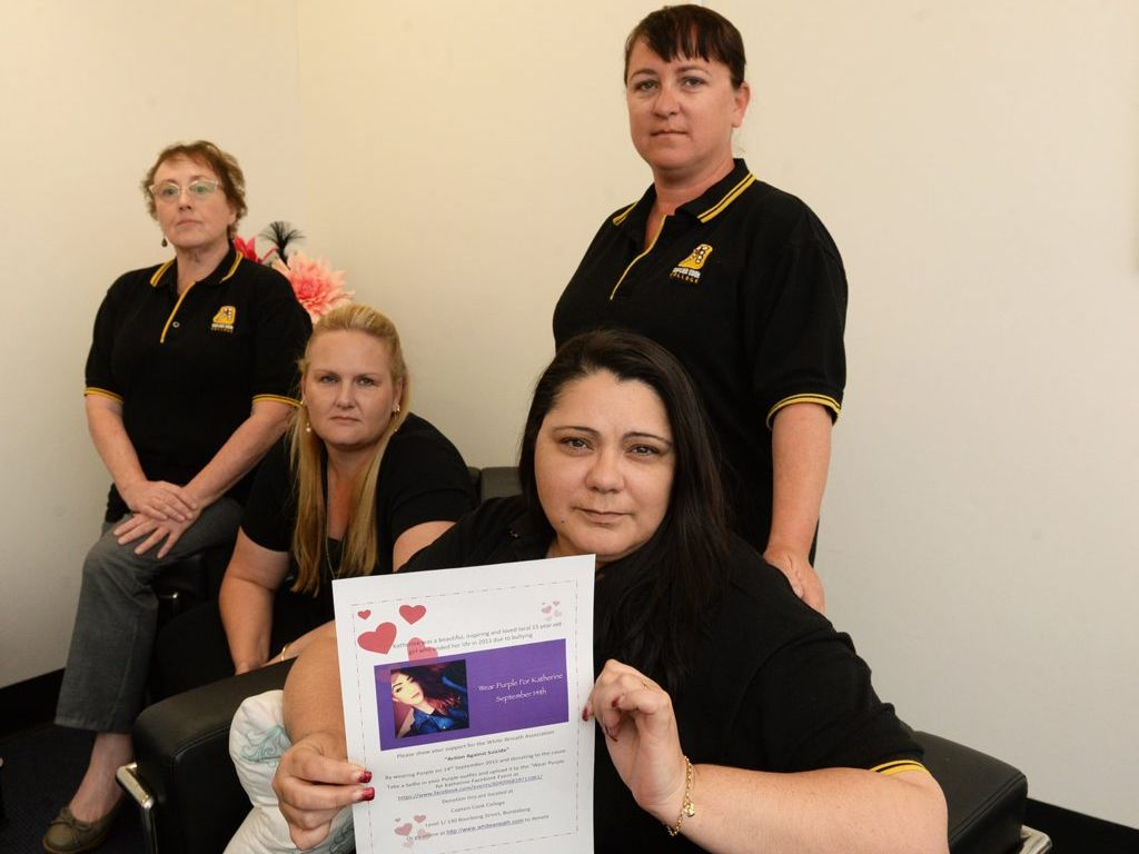 ACTION AGAINST SUICIDE: Wear Purple for Katherine on 14 September. Julia Gannon, Holly Davidson, Cherie Duffy and Katherine's mum Daisy Buckley (front). Photo: Mike Knott / NewsMail