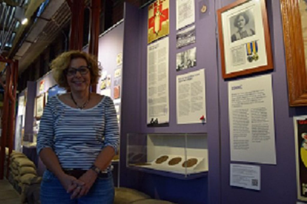 Landsborough Museum president Rosey Field alongside some of the displays.