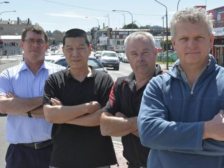 Traders had been unhappy with council's plans including: Mr Rental's Mark Norman, Honey Noodle & Sushi's Kevin Jingbao, Michaels Electronics' Dave Moran and Non Stop Coffee's Nev Siebenhausen.