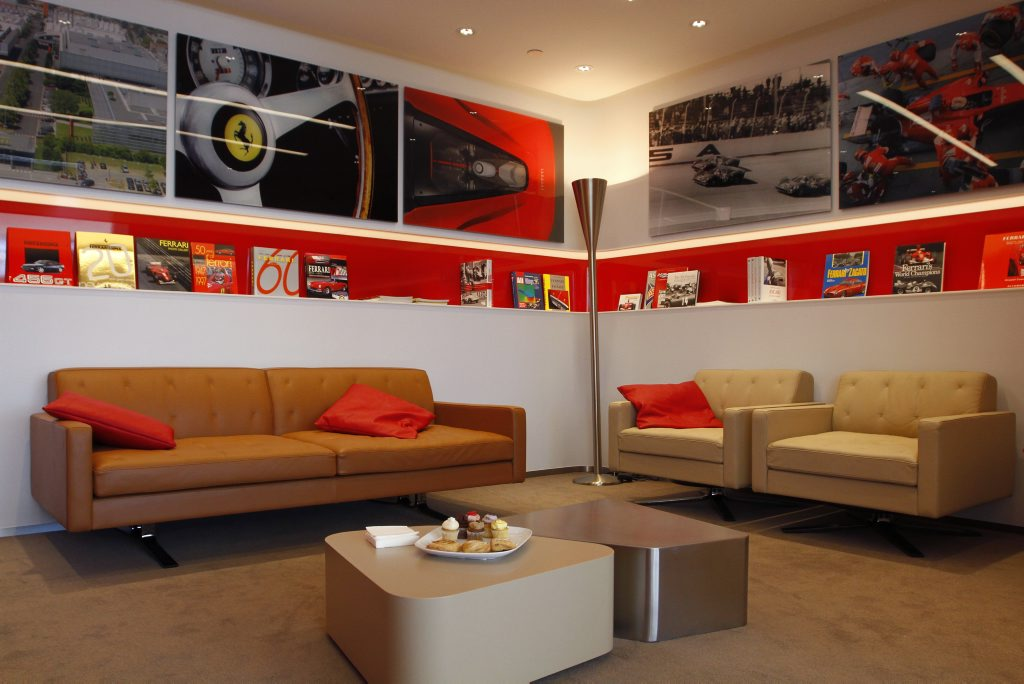 The customer lounge at the new Ferrari Brisbane dealership the day of its grand opening. Photo: Iain Curry / Sunshine Coast Daily