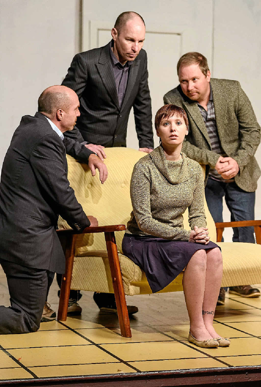 Nick Fuad, John Taylor, Jason Smith and Elyse Knowles in a scene from Wait Until Dark.