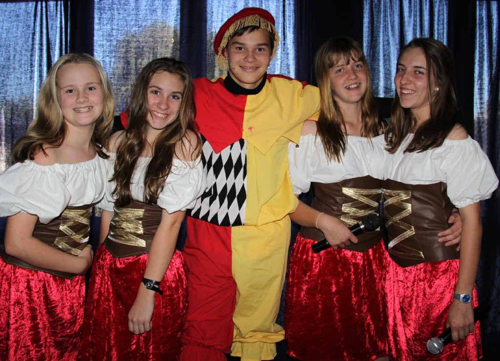 TOP ACT: Brandon Hornby, Lambert the minstrel with his 'Lambertines' – Piper Seaman, Genevieve Van Wersch, Hayley Parker and Phaedra Van Wersch.