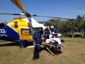 Man airlifted from Fraser after hitting his head on a car
