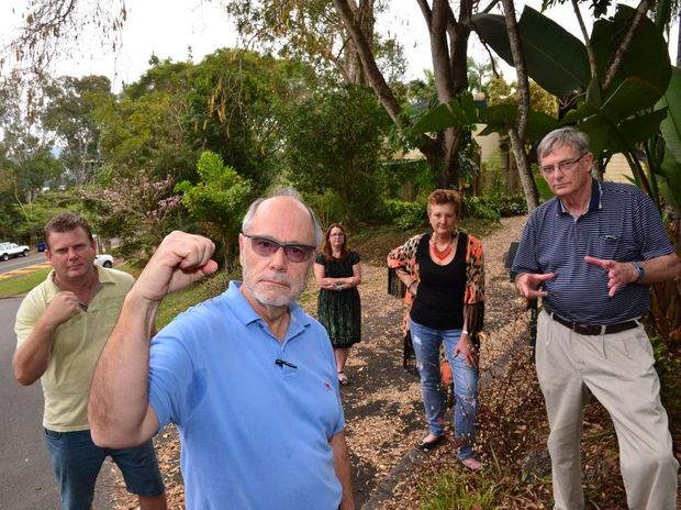 John Mugliett, Ian Smith, Christine Thomas, Sue Heard and John Russell are very angry about a development proposal by St Johns College in Nambour.