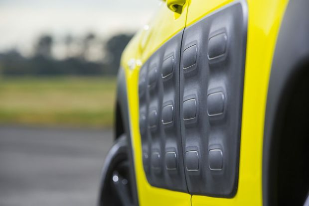 BODY ARMOUR: Close up of the Cactus' Airbump protection for the doors. Buyers can choose from a range of colours for their bumps.