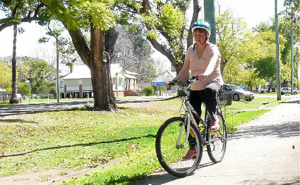 TEMPTING FATE: South Grafton resident Shirley Newby travels the route along Ryan St where she was attacked by a magpie on Tuesday.