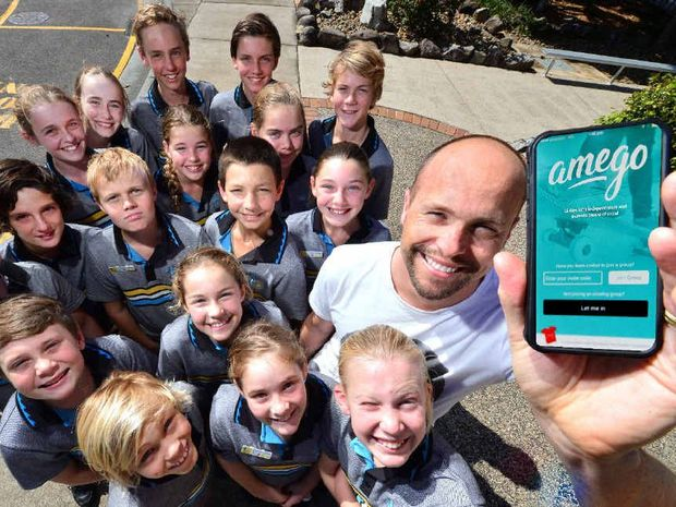 AMEGO: Dan McKinnon shows Year 6 Siena primary school students his new child safety app.