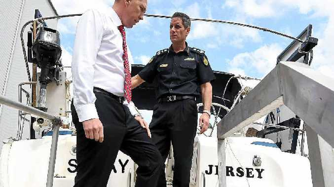 MORE FOUND: Immigration Minister Peter Dutton and Australian Border Force commissioner Roman Quaedvlieg inspect the Solay in Brisbane yesterday.