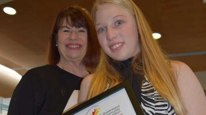 Jessica Rigby King and her grandmother Jacqui Rigby King at the Sunshine Coast Job show with Jessica's scholarship. Photo Erica Henderson / Coolum & North Shore News
